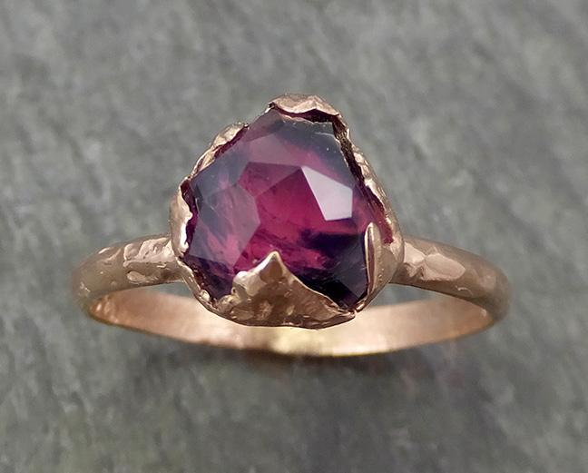 Partially Faceted Sapphire Solitaire 14k rose Gold Engagement Ring Wedding Ring Custom One Of a Kind Gemstone Ring 0699 - Gemstone ring by Angeline