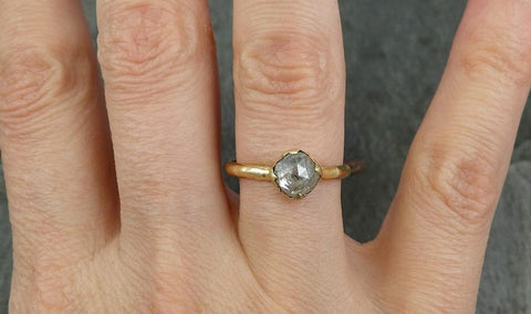Fancy cut white Diamond Solitaire Engagement 14k yellow Gold Wedding Ring byAngeline 0701 - Gemstone ring by Angeline