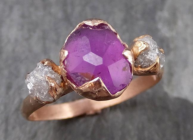 Partially faceted Raw Sapphire Diamond 14k rose Gold Engagement Ring Wedding Ring Custom One Of a Kind Gemstone Ring Multi stone Ring 0705 - Gemstone ring by Angeline