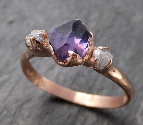 Partially faceted Raw Sapphire Diamond 14k rose Gold Engagement Ring Wedding Ring Custom One Of a Kind Gemstone Ring Three stone Ring 0708 - Gemstone ring by Angeline