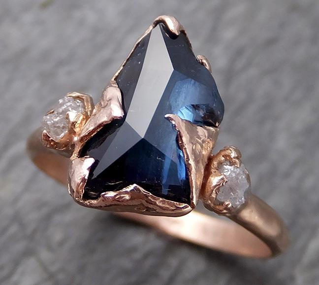 Partially faceted Raw Sapphire Diamond 14k rose Gold Engagement Ring Wedding Ring Custom One Of a Kind Gemstone Ring Multi stone Ring 0709 - Gemstone ring by Angeline