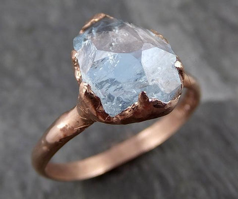 Partially faceted Aquamarine Solitaire Ring rose 14k gold Custom One Of a Kind Gemstone Ring Bespoke byAngeline 0712 - Gemstone ring by Angeline