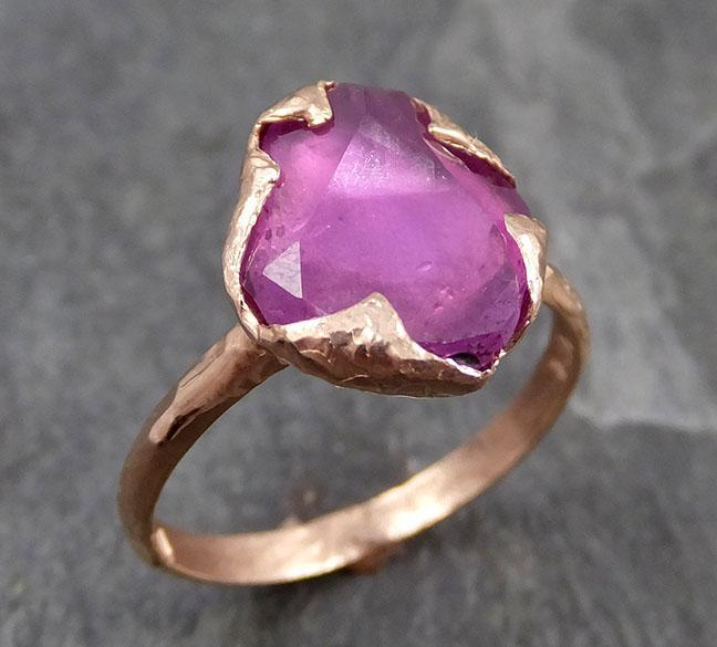 Partially Faceted Sapphire 14k rose Gold Engagement Ring Wedding Ring Custom One Of a Kind Gemstone Ring Solitaire 0714 - Gemstone ring by Angeline