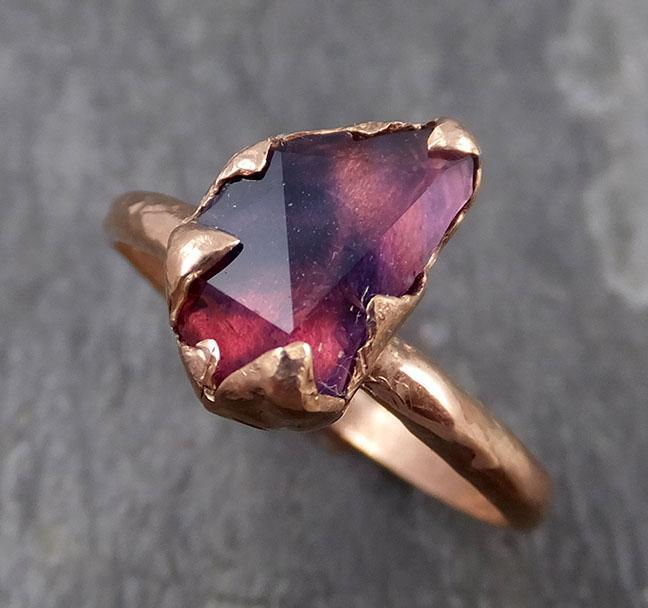 Partially Faceted Sapphire 14k rose Gold Engagement Ring Wedding Ring Custom One Of a Kind Gemstone Ring Solitaire 0715 - Gemstone ring by Angeline