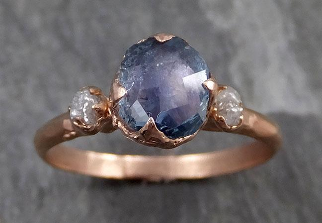 Partially faceted Raw Sapphire Diamond 14k rose Gold Engagement Ring Wedding Ring Custom One Of a Kind blue Gemstone Ring Multi stone Ring 0716 - Gemstone ring by Angeline
