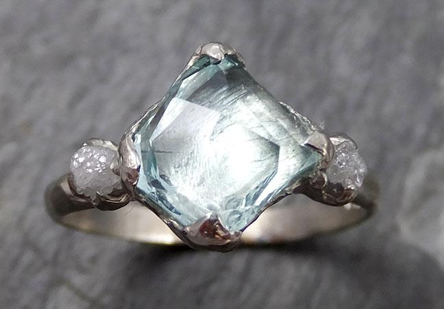 Raw Rough and partially Faceted Aquamarine Diamond 14k white gold Multi stone Ring One Of a Kind Gemstone Ring Recycled gold 0718 - Gemstone ring by Angeline