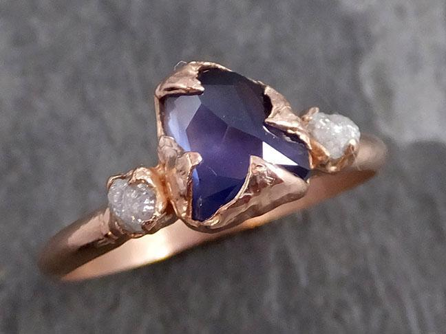 Partially faceted Raw Sapphire Diamond 14k rose Gold Engagement Ring Wedding Ring Custom One Of a Kind Violet Gemstone Ring Three stone Ring 0719 - Gemstone ring by Angeline