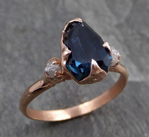 Partially faceted Sapphire Diamond 14k rose Gold Engagement Ring Wedding Ring Custom One Of a Kind Blue Gemstone Ring Three stone Ring 0720 - Gemstone ring by Angeline