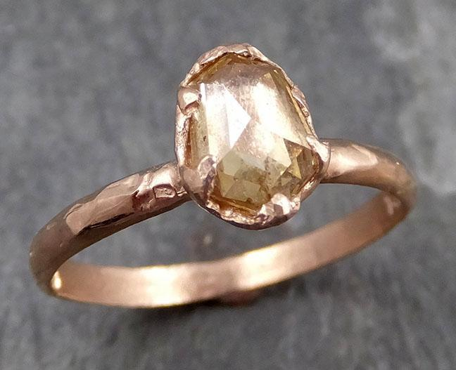 Fancy cut Champagne Diamond 14k Rose gold Solitaire Ring Gold Gemstone Engagement Ring Raw gemstone Jewelry 0721 - Gemstone ring by Angeline