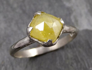 Fancy cut Yellow Diamond Solitaire Engagement 14k White Gold Wedding Ring  byAngeline 0722