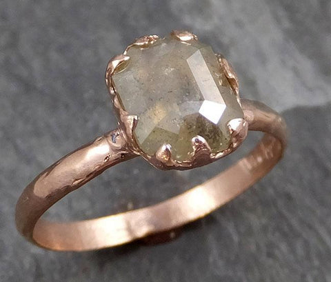 Fancy cut Champagne Diamond Solitaire Engagement 14k Rose Gold Wedding Ring byAngeline 0724 - Gemstone ring by Angeline
