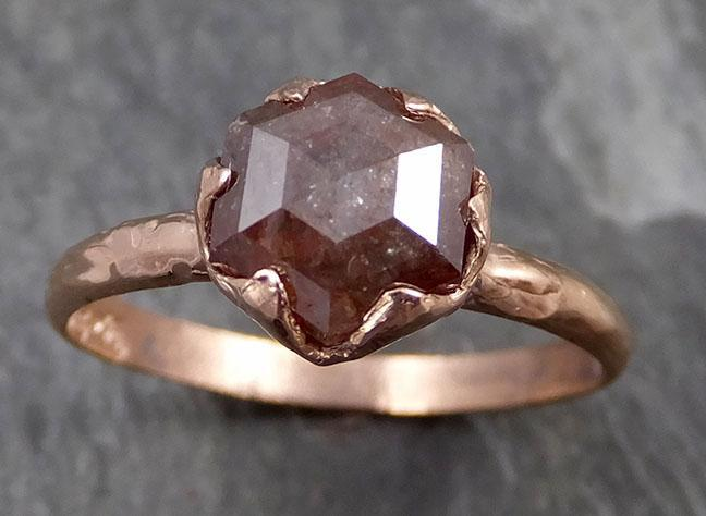 Fancy cut Salt and pepper Solitaire Diamond Engagement 14k Rose Gold Wedding Ring byAngeline 0725 - Gemstone ring by Angeline