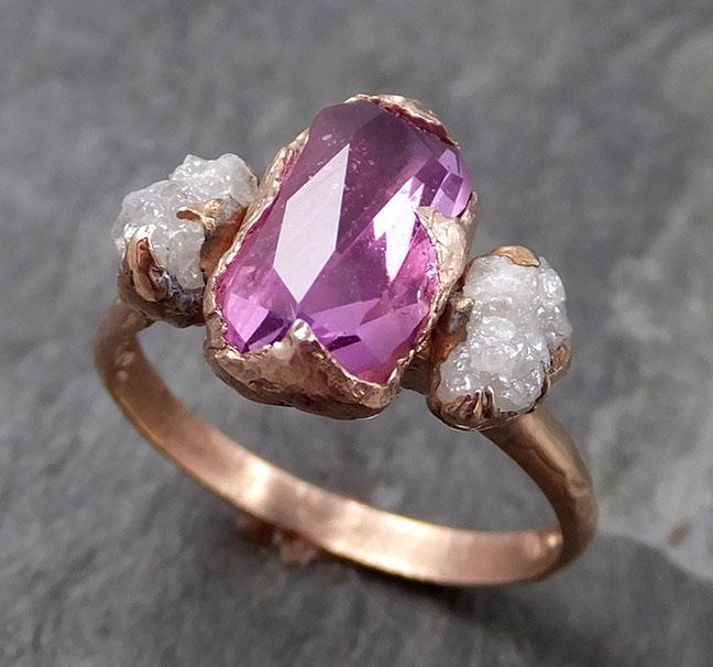 Partially Faceted Sapphire Raw Multi stone Rough Diamond 14k rose Gold Engagement Ring Wedding Ring Custom One Of a Kind Gemstone Ring Three stone 0727 - Gemstone ring by Angeline