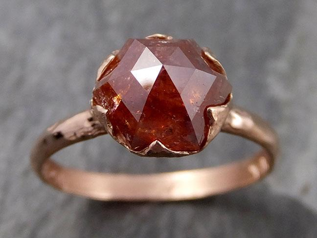 Fancy cut orange Diamond Solitaire Engagement 14k Rose Gold Wedding Ring byAngeline 0728 - Gemstone ring by Angeline