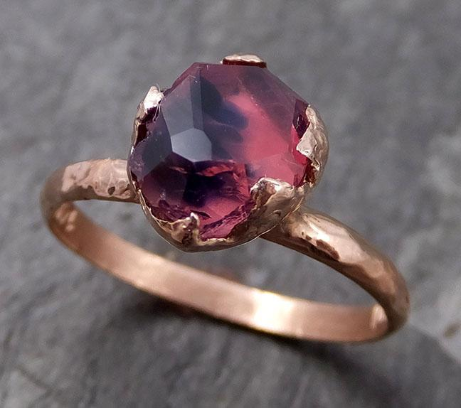 Partially Faceted Sapphire 14k rose Gold Engagement Ring Wedding Ring Custom One Of a Kind Gemstone Ring Solitaire 0729 - Gemstone ring by Angeline
