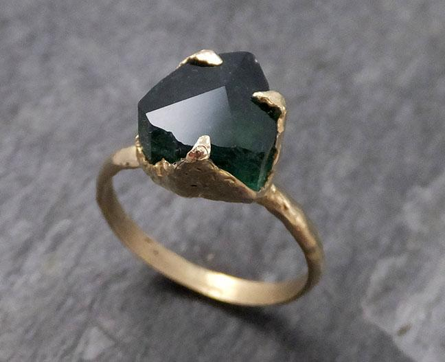 Partially faceted Solitaire Green Tourmaline 14k Gold Engagement Ring One Of a Kind Gemstone Ring byAngeline 0733 - Gemstone ring by Angeline