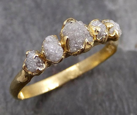 Raw Diamond Yellow gold multi stone Engagement Ring Rough Gold Wedding Dainty Delicate Ring diamond Wedding Ring Rough Diamond Ring 0734 - Gemstone ring by Angeline