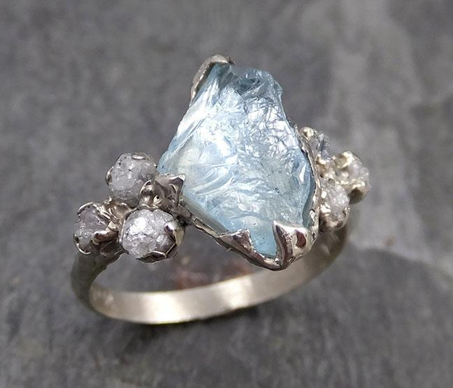 Raw Uncut Aquamarine Diamond White Gold Engagement Ring Wedding Ring Custom One Of a Kind Gemstone Ring Multi stone Ring 0735 - Gemstone ring by Angeline