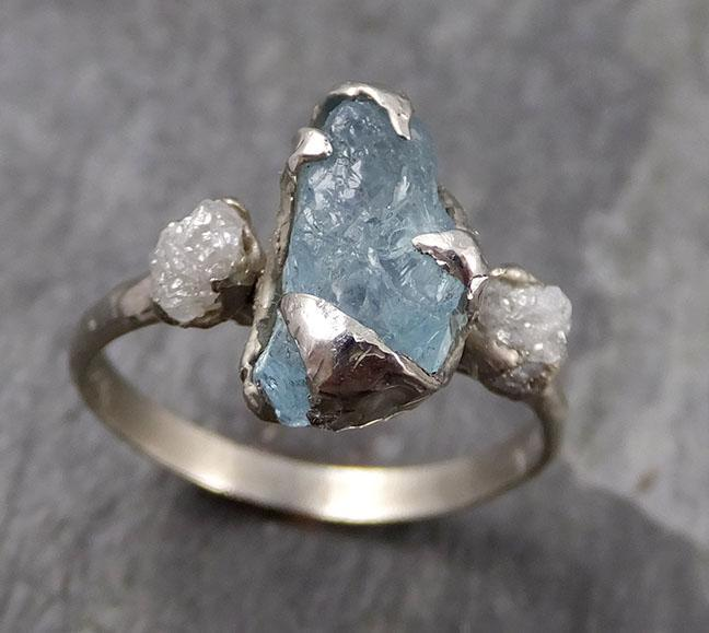 Raw Uncut Aquamarine Diamond white 14k Gold Engagement Ring Wedding Ring Custom One Of a Kind Gemstone Ring Multi stone Ring 0736 - Gemstone ring by Angeline