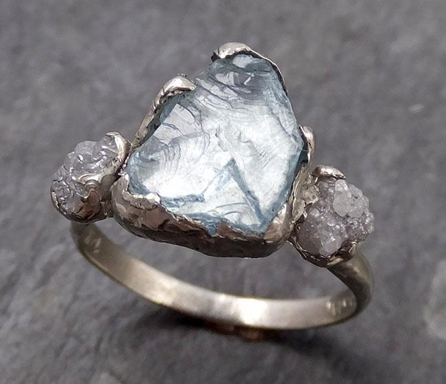 Raw Uncut Aquamarine Diamond white 14k Gold Engagement Ring Wedding Ring Custom One Of a Kind Gemstone Ring Multi stone Ring 0738 - Gemstone ring by Angeline