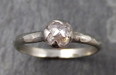 Faceted Fancy cut white Diamond Solitaire Engagement 14k White Gold Wedding Ring byAngeline 0752 - Gemstone ring by Angeline