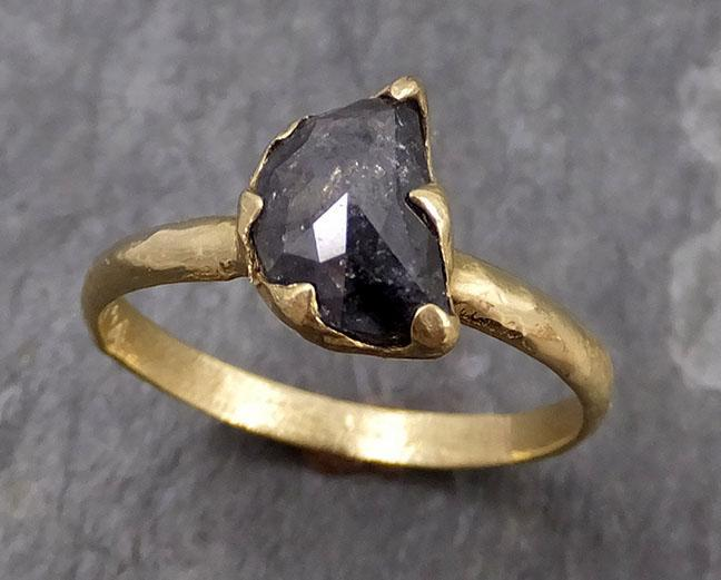 Fancy cut salt and pepper Half moon Diamond Engagement 14k Yellow Gold Solitaire Wedding Ring byAngeline 0751 - Gemstone ring by Angeline