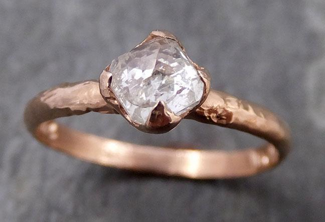 Faceted Fancy cut white Diamond Solitaire Engagement 14k rose Gold Wedding Ring byAngeline 0739 - Gemstone ring by Angeline