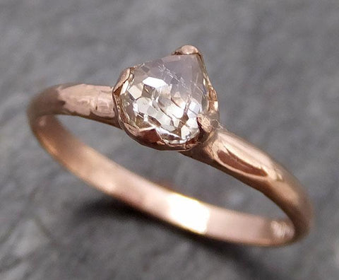 Faceted Fancy cut white Diamond Solitaire Engagement 14k rose Gold Wedding Ring byAngeline 0740 - Gemstone ring by Angeline