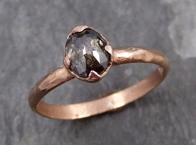 Fancy cut Salt and pepper Diamond Solitaire Engagement 14k Rose Gold Wedding Ring byAngeline 0743 - Gemstone ring by Angeline
