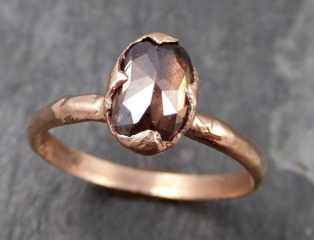 Fancy cut Cognac Diamond Solitaire Engagement 14k Rose Gold Wedding Ring Diamond Ring byAngeline 0744 - Gemstone ring by Angeline