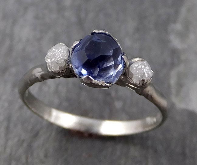Partially faceted Montana Sapphire Rough Diamond 14k white Gold Engagement Ring Wedding Ring Custom One Of a Kind Gemstone Ring Three stone Ring 0754 - Gemstone ring by Angeline