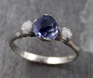 Partially faceted Montana Sapphire Rough Diamond 14k white Gold Engagement Ring Wedding Ring Custom One Of a Kind Gemstone Ring Three stone Ring 0754