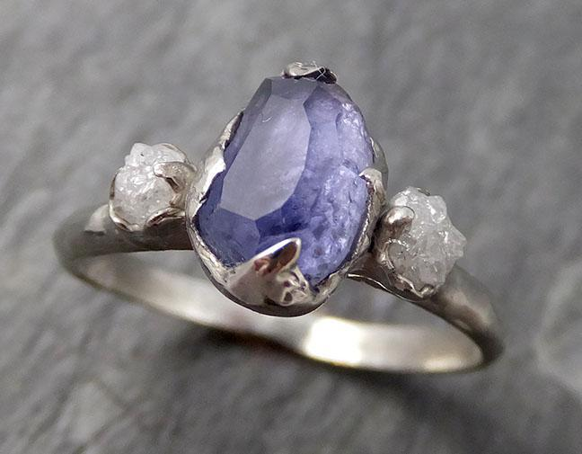 Partially faceted Raw Sapphire Diamond 14k white Gold Engagement Ring Wedding Ring Custom One Of a Kind Gemstone Ring Three stone Ring 0756 - Gemstone ring by Angeline