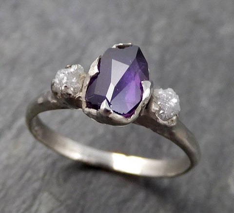 Partially faceted Raw Sapphire Diamond 14k white Gold Engagement Ring Wedding Ring Custom One Of a Kind Gemstone Ring Three stone Ring 0755 - Gemstone ring by Angeline