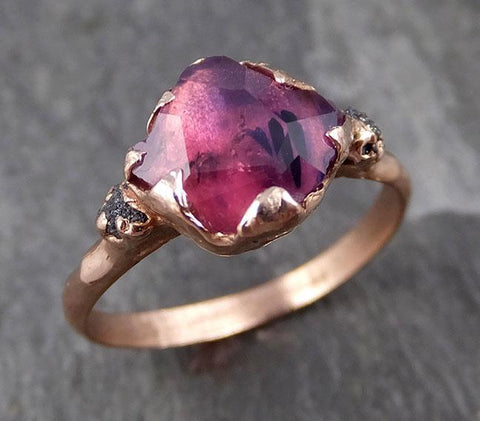 Partially faceted Raw Sapphire Diamond 14k rose Gold Engagement Ring Wedding Ring Custom One Of a Kind Violet Gemstone Ring Three stone Ring 0758 - Gemstone ring by Angeline