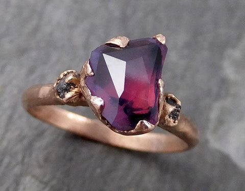 Partially faceted Raw Sapphire Diamond 14k rose Gold Engagement Ring Wedding Ring Custom One Of a Kind Violet Gemstone Ring Three stone Ring 0759 - Gemstone ring by Angeline