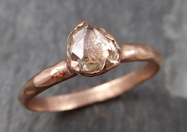 Fancy cut Champagne Diamond Solitaire Engagement 14k Rose Gold Wedding Ring byAngeline 0850 - Gemstone ring by Angeline