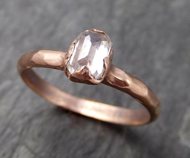 Faceted Fancy cut white Diamond Solitaire Engagement wedding 14k Rose Gold Ring byAngeline 0761 - Gemstone ring by Angeline