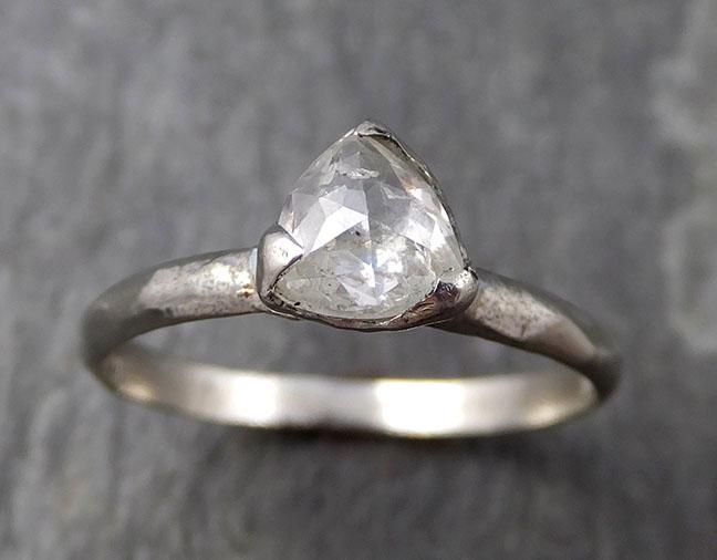 Fancy cut white Diamond Solitaire Engagement 14k White Gold Wedding Ring Diamond Ring byAngeline 0766 - Gemstone ring by Angeline