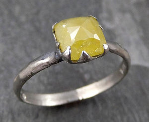 Fancy cut yellow Diamond Solitaire Engagement 14k White Gold Wedding Ring Diamond Ring byAngeline 0769