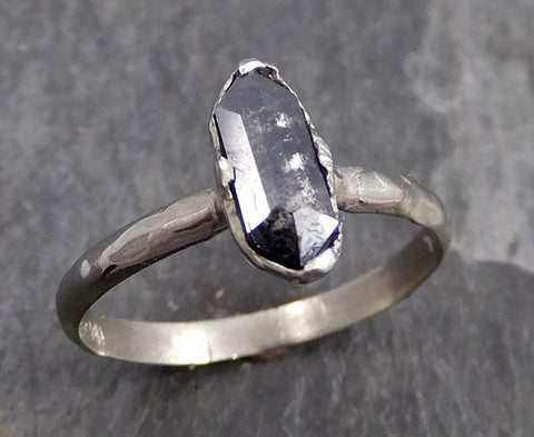 Fancy cut salt and pepper Diamond Solitaire Engagement 14k White Gold Wedding Ring byAngeline 0770 - Gemstone ring by Angeline