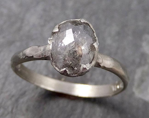 Fancy cut salt and pepper Diamond Solitaire Engagement 14k White Gold Wedding Ring byAngeline 0772 - Gemstone ring by Angeline