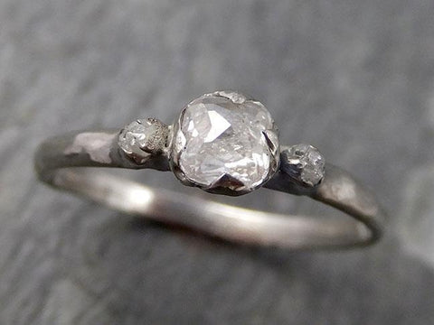 Fancy cut white Diamond multi stone Engagement 14k White Gold Wedding Ring Rough Diamond Ring byAngeline 0774 - Gemstone ring by Angeline