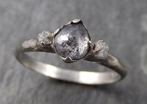 Fancy cut salt and pepper Diamond Multi stone Engagement 14k White Gold Wedding Ring Rough Diamond Ring byAngeline 0775 - Gemstone ring by Angeline