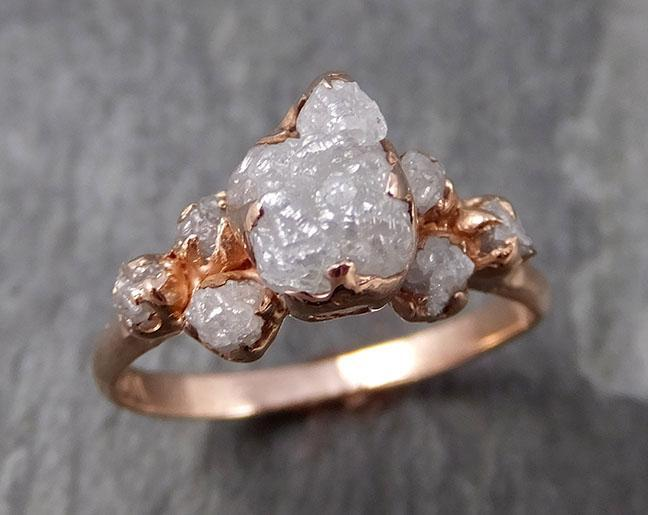 Raw Diamond Rose gold Engagement Ring Rough Gold Multi stone Wedding Ring diamond Wedding Ring Rough Diamond Ring byAngeline 0783 - Gemstone ring by Angeline