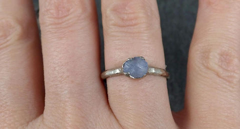 uncut Aquamarine Solitaire Ring Custom One Of a Kind Gemstone Ring Bespoke byAngeline 0784 - Gemstone ring by Angeline
