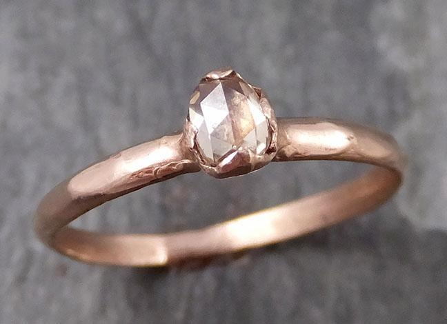 Faceted Fancy cut Champagne Diamond Solitaire Engagement 14k Rose Gold Wedding Ring byAngeline 0789 - Gemstone ring by Angeline