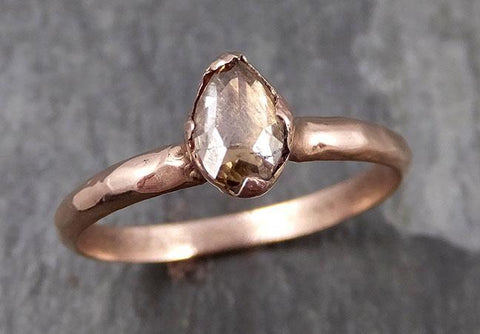 Faceted Fancy cut Champagne Diamond Solitaire Engagement 14k Rose Gold Wedding Ring byAngeline 0790 - Gemstone ring by Angeline
