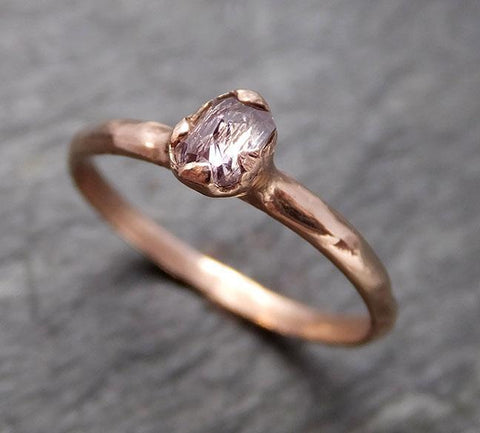 Faceted Fancy cut white Diamond Solitaire Engagement 14k Rose Gold Wedding Ring byAngeline 0792 - Gemstone ring by Angeline