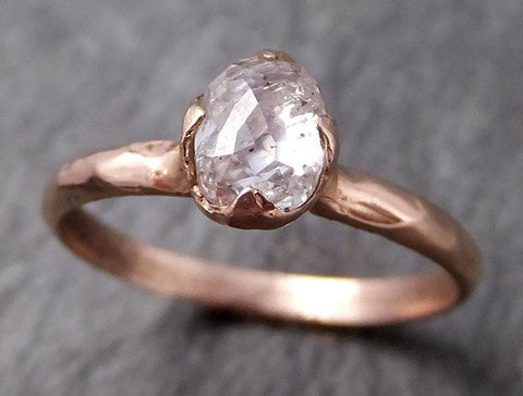 Faceted Fancy cut Rose Diamond Solitaire Engagement 14k Rose Gold Wedding Ring byAngeline 0793 - Gemstone ring by Angeline